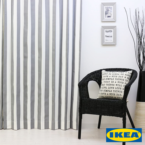 カーテン ストライプ 【IKEA】ソフィア グレー 綿100% 北欧 おしゃれカーテン ボーダー 輸入 ピッタリサイズ シンプル 目隠し 試着室 オーダーメイド モノクロ モノトーン 男性 新生活 一人暮らし オシャレ かっこいい