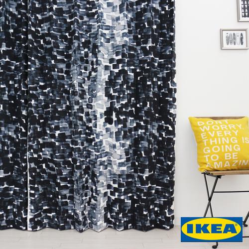 カーテン【ストックホルム2017】【IKEA】自然素材 コットン 綿100% 北欧カーテン おしゃれ カーテン IKEA ピッタリサイズ シンプル 男性 一人暮らし メンズ ブルー 北欧 海外 デニム色 リビング 寝室 ブルー ペンタッチ