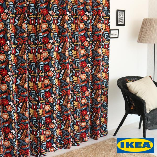 北欧カーテン 【タイガーオガ】【IKEA】花柄 綿100% おしゃれ デザイナーズ 自然素材 モダン イケア ブラウン オーダーカーテン リビング 人気 定番 送料無料