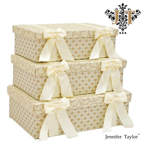 ジェニファーテイラー【送料無料】【ルミーナ】3段ボックス Jennifer Talor Lumina 花 リボン ベージュ アメリカ 輸入 収納BOX 3Pボックス 小物入れ 3個セット