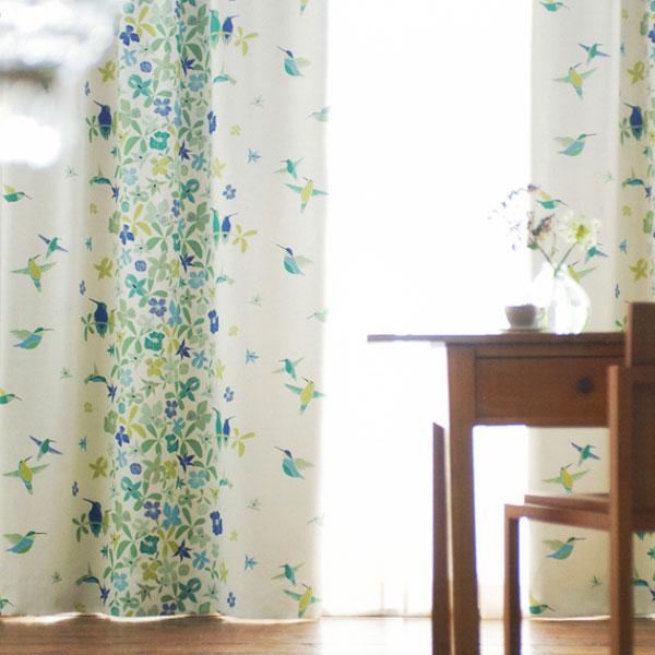 北欧 デザインカーテン 「ヴィセルス」 丸洗いできるカーテン☆ 動物 植物 自然 ウォッシャブル オーダー カーテン 子供 北欧生まれのおしゃれなカーテン♪ グリーン ブルー アスワン フィンレイソン