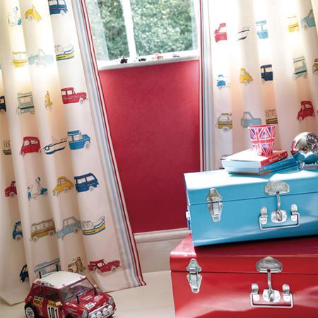 ハーレクイン HARLEQUIN ゴーゴーレトロ オーダーカーテン 英国 イギリス 輸入カーテン 正規品 子供部屋 カーテン 男の子 ロボット ボーイズ go go retoro 車 ハーレークイン 送料無料