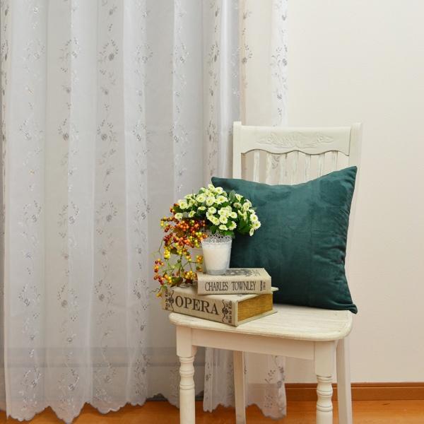 ●日本製● フラワー刺繍レースカーテン
