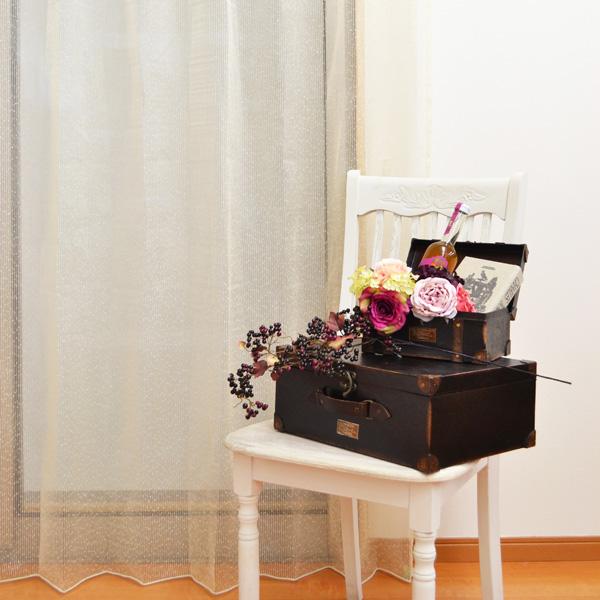 ●日本製● ゴールド 刺繍レースカーテン