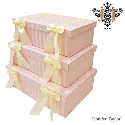 ジェニファーテイラー【送料無料】【ハルノ】3段ボックス Jennifer Talor Haruno リボン ピンク アメリカ 輸入 収納BOX 3Pボックス 小物入れ 3個セット