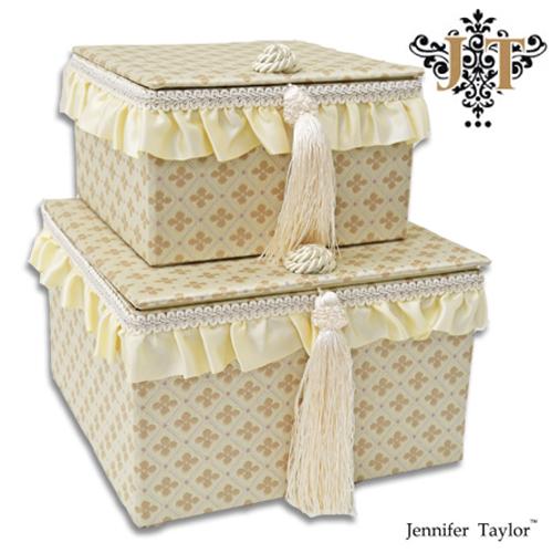 ジェニファーテイラー【送料無料】【ルミーナ】2pボックス Jennifer Talor lumina オシャレ かわいい 2段ボックス アメリカ 輸入 ファブリック タッセル フリル 2個セット