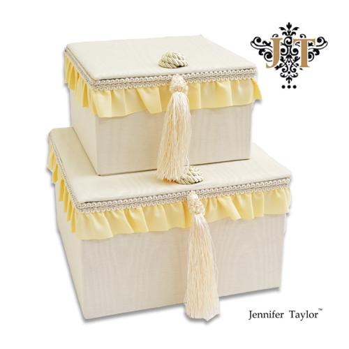 ジェニファーテイラー 2pボックス Jennifer Talor chinon シノン オシャレ かわいい 2段ボックス アメリカ 輸入 ファブリック タッセル フリル 2個セット ホワイト 白