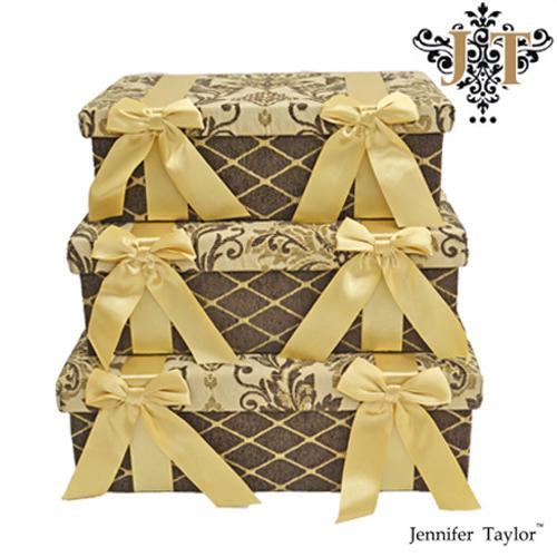 ジェニファーテイラー【送料無料】【ブローデリック】3段ボックス Jennifer Talor broderick リボン ゴールド アメリカ 輸入 小物入れ 収納BOX 3Pボックス 小物入れ 3個セット