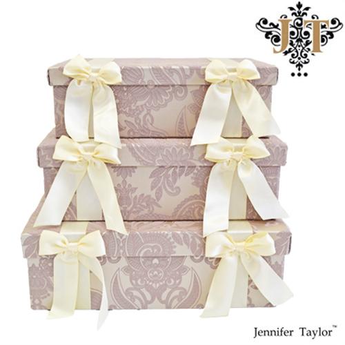 ジェニファーテイラー 3段ボックス Jennifer Talor Hermosa エルモサ ラベンダー モダン柄 ベージュ タッセル エレガント アンティーク調 ヨーロピアン 姫 インテリア 小物入れ  3pボックス 輸入 3個セット