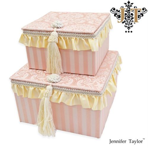 ジェニファーテイラー 2pボックス Jennifer Talor Haruno ハルノ サテン フリル ピンク 姫 白 ヨーロピアン 輸入インテリア リボン オシャレ かわいい 2段ボックス