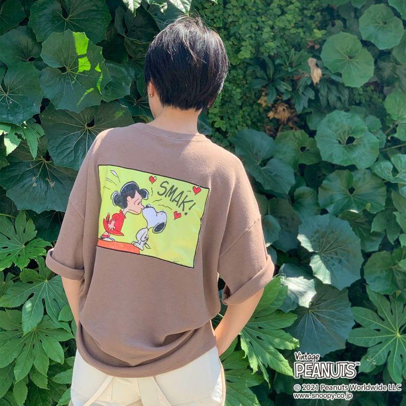 パニカムトーキョー キャラクターファッションの通販専門店 大人気! PEANUTS ピーナッツ スヌーピー バックプリントワッフルTシャツ A ルーシー 保証 POPPINS