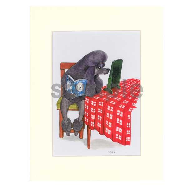 ヤマモトヨーコ 額入り複製画 10「プードルの読書」 プードル 雑貨 絵 グッズ 犬 ドッグ 絵画 額