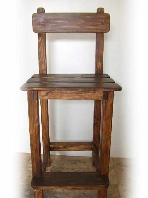 カウンターチェアー(ダークブラウン) 木 手作り オーダー 製作