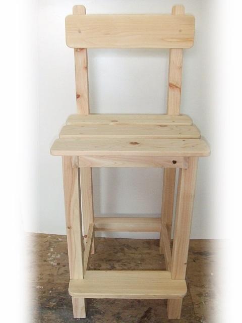 カウンターチェアー(白木) 木 手作り オーダー 製作