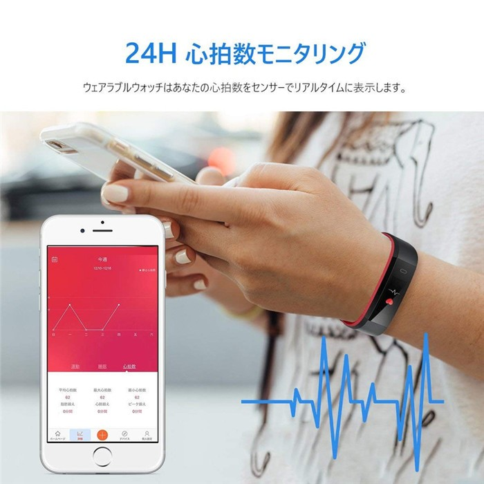 Smart watch iPhone Android android-adaptive Japanese manual LINE-adaptive  lady's men smart bracelet body IP68 waterproofing pedometer receipt notice