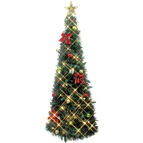 135cmハンギングクリスマスツリー H135×W45×D15cm PVC【1ヶ入】