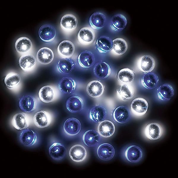 防滴100球LEDライト(ホワイト/ブルー) 全長約14m(コード部分の長さ/約3m) 【1セット入】