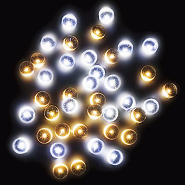 防滴200球LEDライト(ホワイト/ゴールド) 全長約24m(コードの部分の長さ/約4m) 【1セット入】