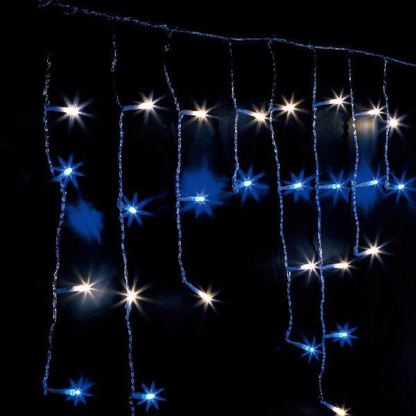 防滴100球LEDつららライト(ホワイト/ブルー) H30~70×W140cm 【1ヶ入】