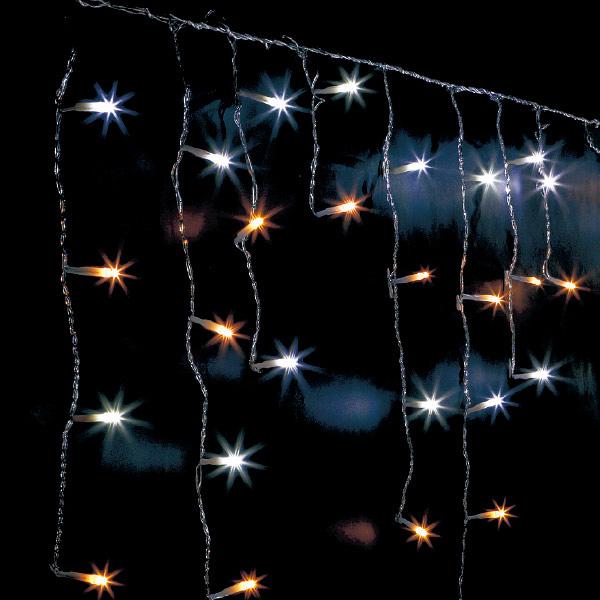 防滴100球LEDつららライト(ホワイト/ゴールド) H30~70×W140cm 【1ヶ入】