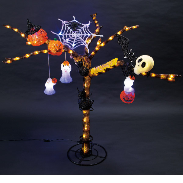 LEDクリスタルモチーフ ハロウィンツリーL(H112cm)|ハロウィン装飾デコレーションツリー
