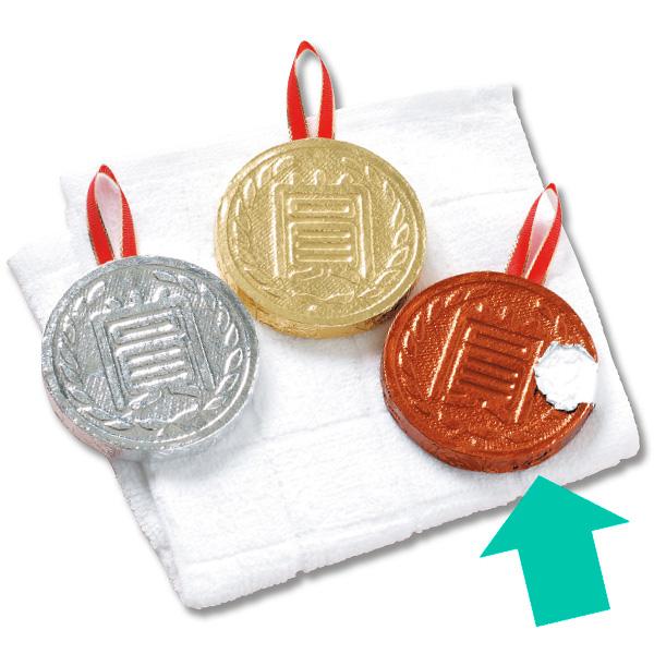 メダル圧縮タオル(銅) メダル:約Φ6×0.8cm 【50個入】