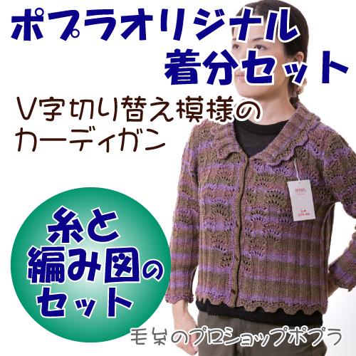 【ニッケビクター】【着分パック】V字切り替え模様のカーディガン【春夏】【中級者】【編み図付】【編み物キット】