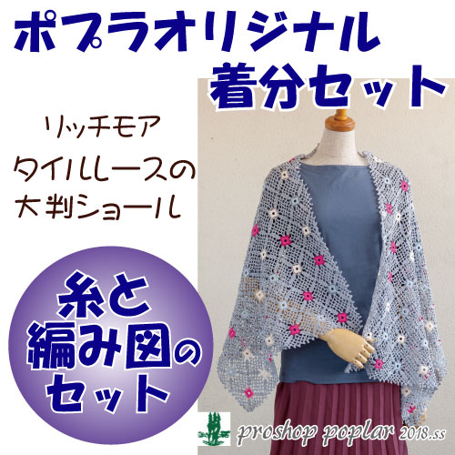 【秋冬】タイルレースの大判ショール【中級者】【編み物キット】