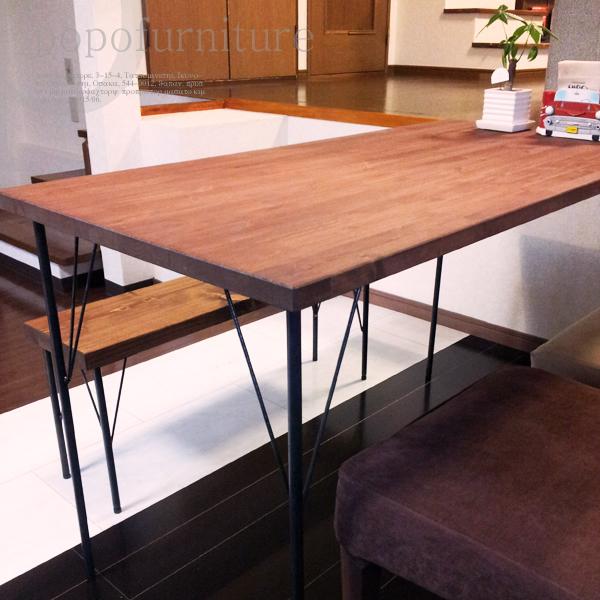 アイアン テーブル 無垢ダイニングテーブル 幅120×奥行60cm 4本脚 アジャスト付 直角アイアン鉄脚