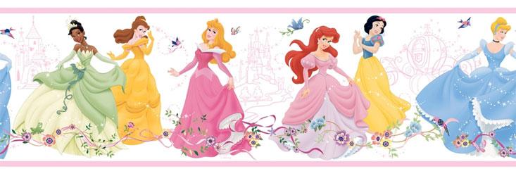 ディズニープリンセス ボーダー壁紙 Dancing Princess WH 水張り インポート 輸入 子供部屋 グッズ  メール便不可子供会 クリスマス 景品