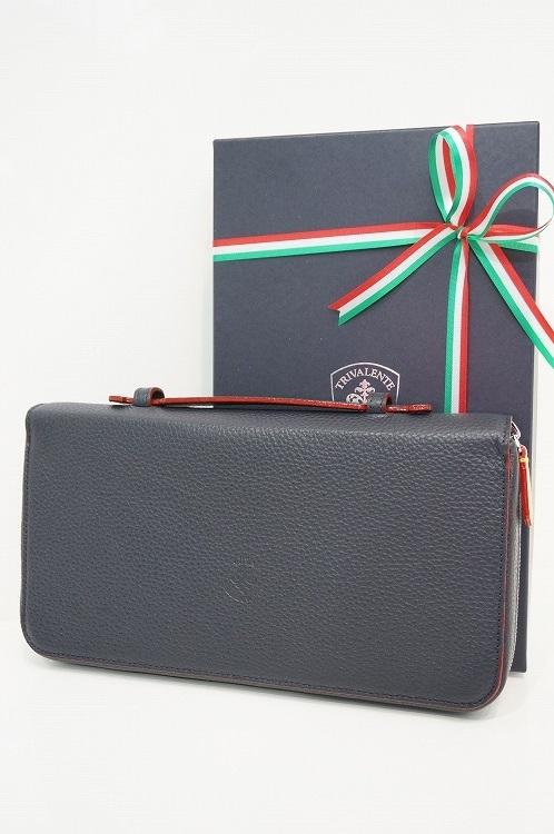 トリヴァレンテ トラベルケース TRIVALENTE トラベルクラッチ クラッチバッグ パスポートケース 財布 ネイビー イタリア 革 レザー ビジネス 上質 プレゼント