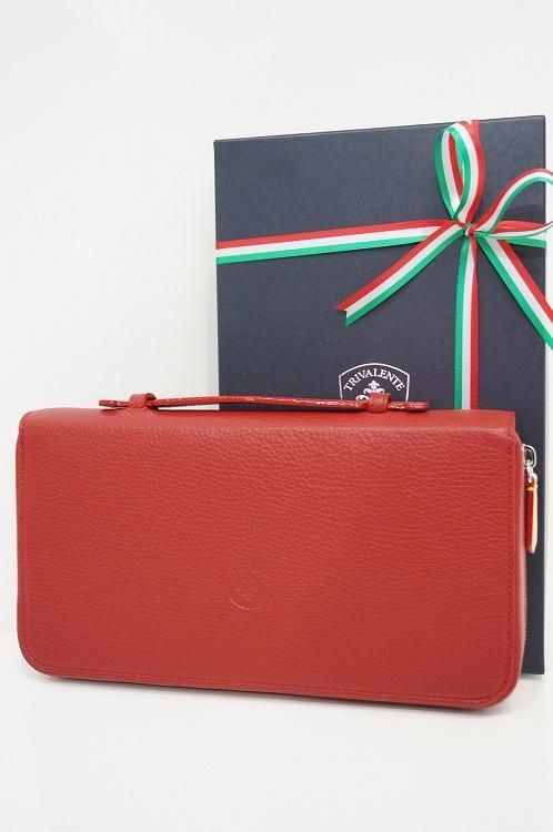 トリヴァレンテ トラベルケース TRIVALENTE トラベルクラッチ クラッチバッグ 旅行 財布 レッド イタリア 革 レザー ビジネス 上質 プレゼント