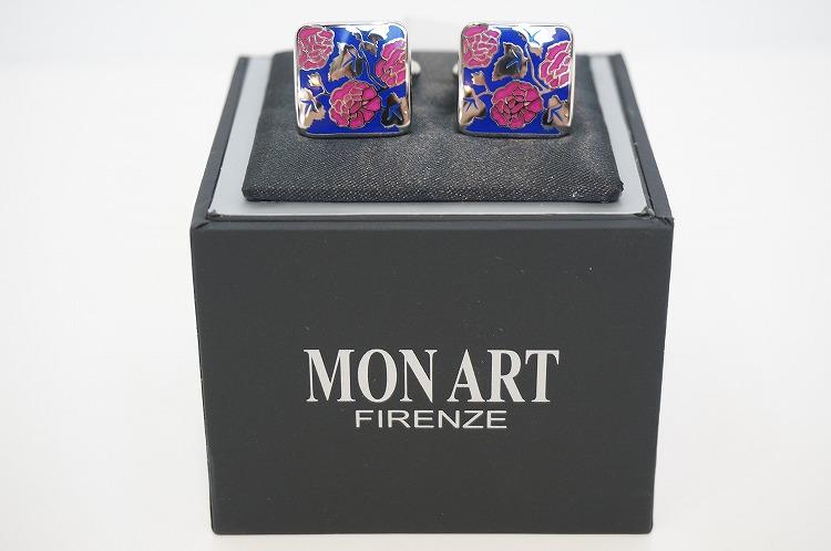 【MONART cuff Link12(モンアート  カフリンクス12)】 カフス おしゃれ ラグジュアリー プレゼント アクセサリー 花柄 ブルー 上質 ビジネス プライベート  10P03Sep16