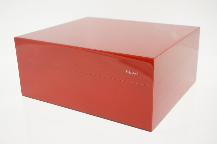 【SIGLO HUMIDOR RED シグロ社製 ヒュミドール レッド 赤】 葉巻 シガー タバコ 収納 保管 ケース BOX シンプル デジタル温度計 加湿器 ピアノ表面仕上げ 光沢 高級感 ボリビア産 スペイン杉 プレゼント 父の日 お取り寄せ