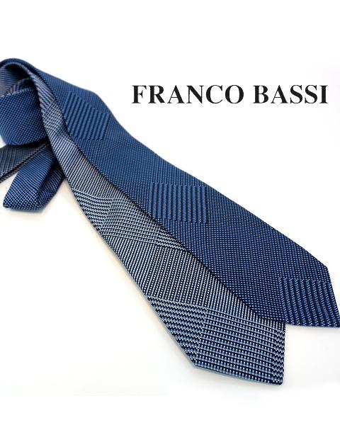 フランコバッシ ネクタイ FRANCO BASSI tie メンズ ビッグ スクエア シルク100% ネイビー紺/ブルー 剣先7.5cm イタリア Itary プレゼント ギフト 送料無料 正規品 直輸入 数量限定 父の日 tie_18063.18064