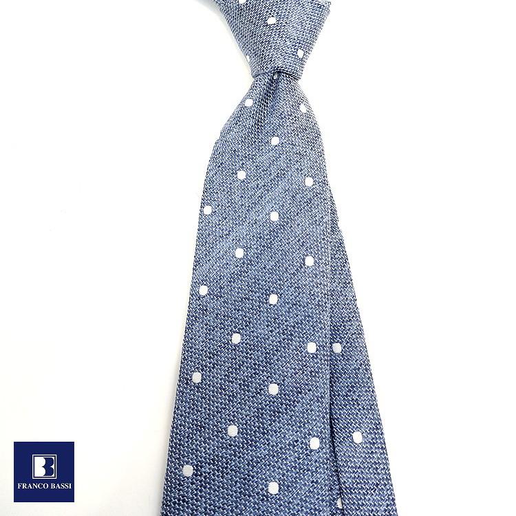 フランコバッシ 新作 ネクタイ FRANCO BASSI tie メンズ ブルー ホワイト ドット シルク100% イタリア Itary プレゼント ギフト ラッピング ブランド 送料無料 正規品 直輸入 数量限定 父の日v0m8wNn