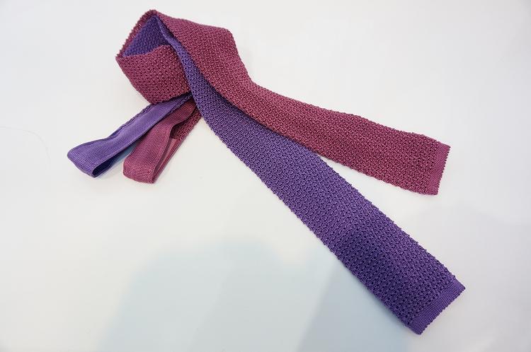 フランコバッシ ネクタイ FRANCO BASSI tie メンズ ニット風 編み シルク100% ピンク/パープル紫 イタリア Itary プレゼント ギフト 送料無料 正規品 直輸入 数量限定 父の日 tie_18091.18092