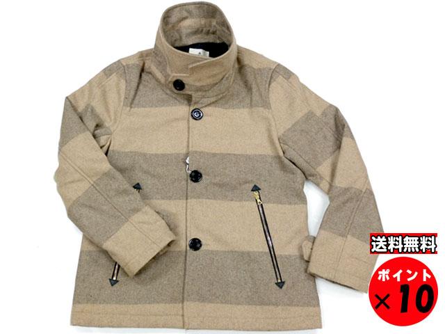 15A/W☆大特価セール50%オフ+ポイント10倍 Honnete オネット Single P Coat シングルピーコート キャメルストライプ 送料無料 【あす楽対応】