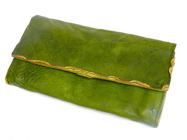 TIDEWAY潮方法BELLY浆果系列洗涤皮革长钱包绿色63-0618