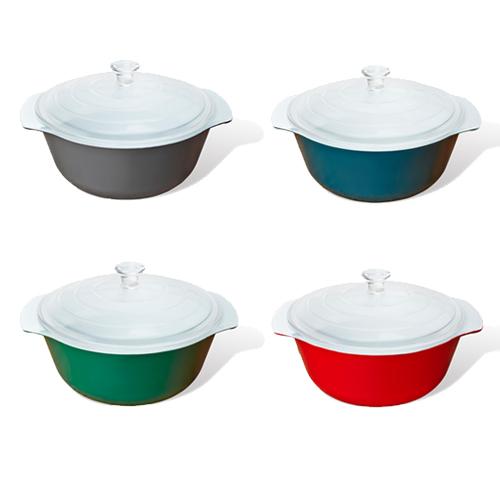 CREO New York 耐熱ガラスをべースに、鮮やかなセラミックで装飾したベーキング(オーブン)ウェア。フリーザーからオーブン、電子レンジへと急激な温度差にも対応。食卓を彩るテーブルウェアとしても活躍。CREOスマートグラス キャセロール フタ付