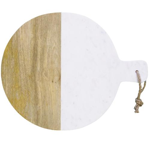 天然大理石とマンゴー材を繋ぎ合わせ、洗練さと素朴さを兼ね備えたイギリスキッチンクラフトのサービングボード。チーズやフルーツ、ケーキなどを盛り合わせお洒落なテーブルセッティングを。マーブルサービングボード ラウンド。