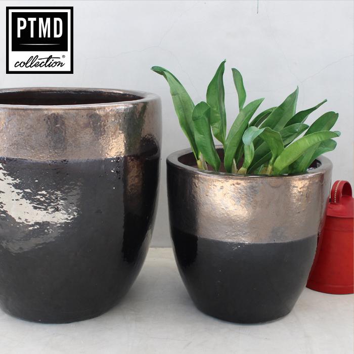 北欧雑貨 花びん 花瓶 花器 フラワーベース DOUG セラミック Mサイズブラック&ブロンズ