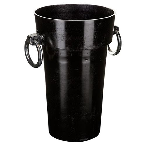 花瓶 ブラック Sサイズ ハンドル付き 深型