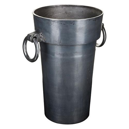 花瓶 グレー Sサイズ ハンドル付き 深型