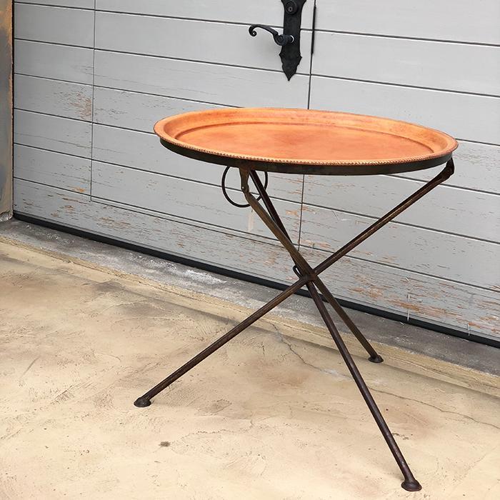 Leather ラウンドフォールディングテーブル M ナチュラルブラウン