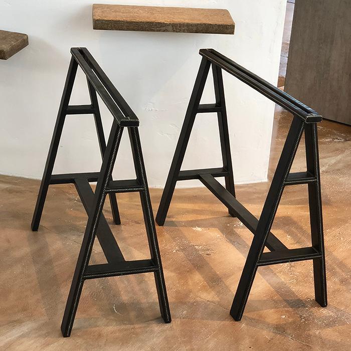 送料無料 北欧雑貨 北欧 レザー 革 最高品質 手作り 贅沢 エレガント レザー張り テーブル脚 ブラック 2脚セット