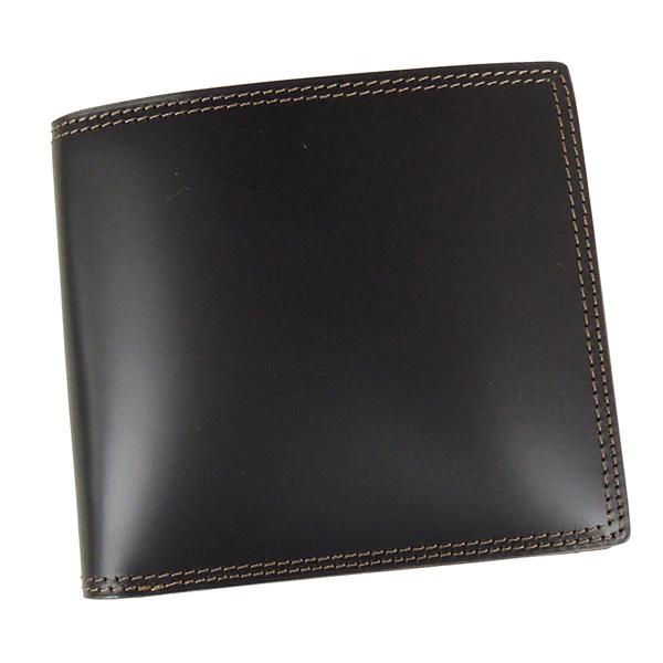 コードバン 財布 二つ折り 小銭入れ付き 馬の腰部の革 CO-2 ブラック