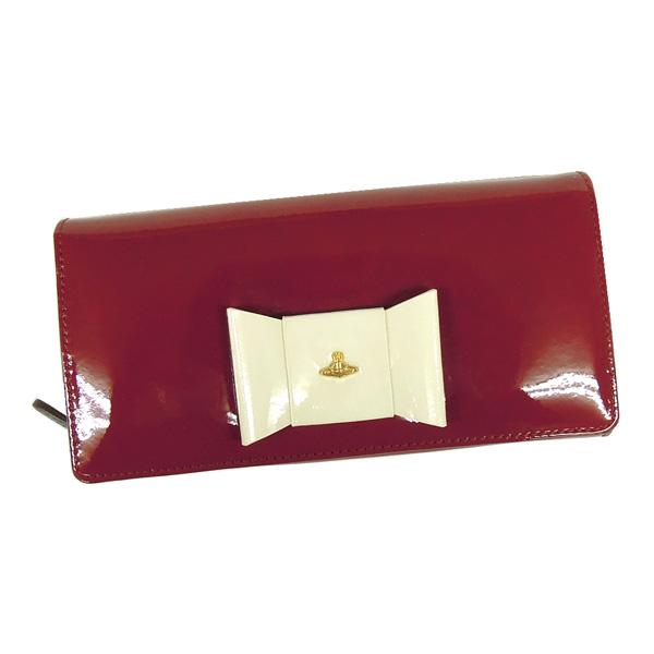 【並行輸入品】 ヴィヴィアンウエストウッド 財布 1032V30V FIOCCO 410 CLIEGIA チェリーレッド+アイボリー リボンモチーフ Vivienne Westwood