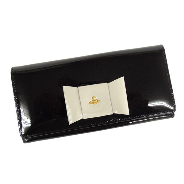 【並行輸入品】 ヴィヴィアンウエストウッド 財布 2800V67V FIOCCO114 100 NERO エナメルブラック リボンモチーフ Vivienne Westwood