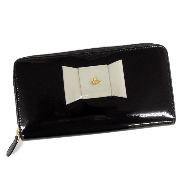 【並行輸入品】 ヴィヴィアンウエストウッド 財布 5140V126V FIOCCO 100 NERO エナメルブラック リボンモチーフ ラウンドファスナー 財布 Vivienne Westwood